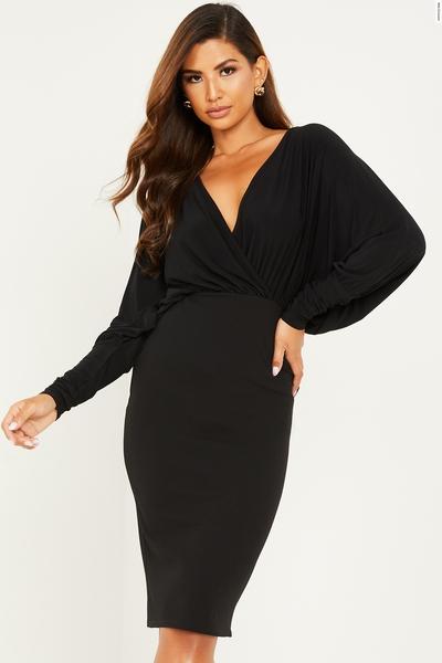 Black Batwing Bodycon Midi Dress